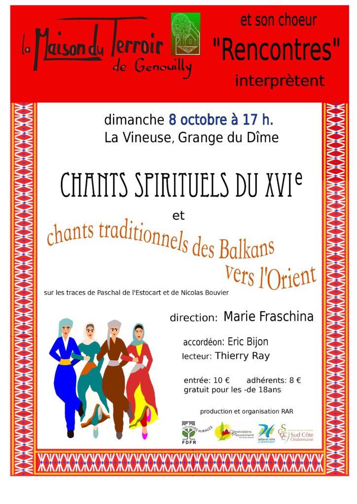 Concert « L'usage du monde » Par le Chœur Rencontres-Dimanche 8 Octobre – 17h00 – La Vineuse @ La Vineuse, Grange de la Dîme