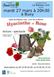 """Lecture en musique – Mardi 27 Mars -20h30 – Buxy – Salle du Bateau Ivre – """"Hyacinthe et Rose"""""""