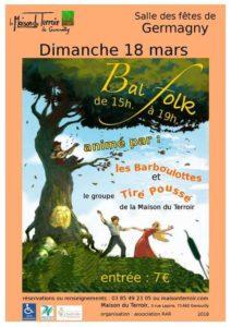 Bal Folk - Dimanche 18 Mars - 15h00 - Germagny - Salle des Fêtes
