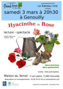 """Lecture spectacle en musique -Samedi 3 Mars- 20h30 -Maison du Terroir """"Hyacinthe et Rose"""""""
