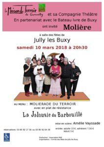 """Théâtre - Samedi 10 Mars - Jully-Les-Buxy- 20h30 - Salle des Fêtes - """" La jalousie du Barbouillé"""""""