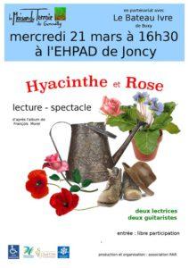 """Lecture en musique – Mercredi 21 Mars -16h30 – EHPAD de Joncy – """"Hyacinthe et Rose"""""""