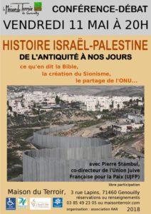 """Conférence - Débat """" Histoire Israël-Palestine de l'antiquité à nos jours"""" - Vendredi 11 Mai -20h30 - Maison du Terroir"""