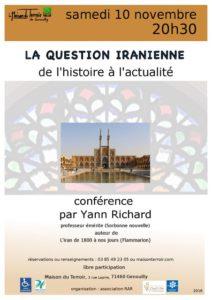 Conférence « La question iranienne, de l'histoire à l'actualité » par Yann RICHARD - Samedi 10 Novembre - 20h30