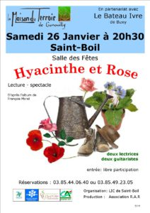 Lecture en musique «Hyacinthe et Rose»- Samedi 26 Janvier à 20h30 - St Boil - Salle des fêtes