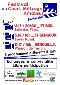 Festival de courts métrages amateurs- Dimanche 17 Février -16h00