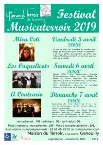 Musicaterroir -Vendredi 5 Avril- 20h30  - Samedi 6 Avril - 20h30 - Dimanche - 7Avril -17h00