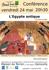 Conférence sur l'Egypte par Karen Gulden - Vendredi 24 mai - 20h30