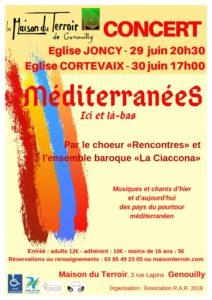 Concert Chœur Rencontres «Méditerranées» Samedi 29 Juin - 20h30 - Eglise de Joncy