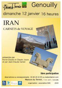 """Carnet de Voyage """"L'Iran"""" - Dimanche 12 Janvier - 16h00"""