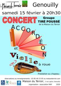 Samedi 15 Février- 20h30- Concert Tiré-Poussé - Maison du Terroir