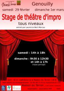 Stage Théâtre d'improvisation Samedi 29 de 14h00 à 18h00 Dimanche 1er Mars de 9h30 à 17h00